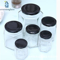 empty honey packing hexagon large mini honey jar