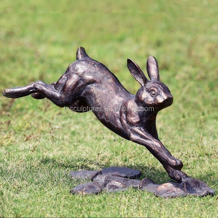 Outdoor Garden Decorative Metal Life Size Jumping Rabbit Statue For Sale