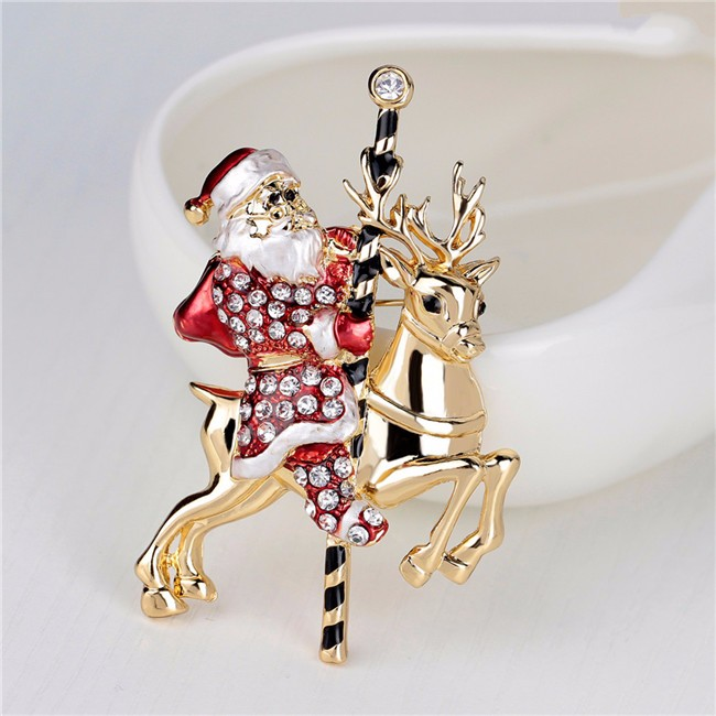 christmas gifts shiny crystals alloy x mas santa claus lapel pin