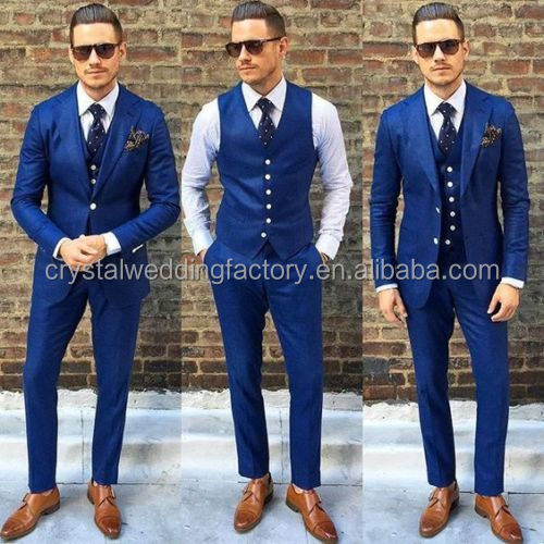 Jacket + Pants + Vest New wedding navy blue men blazer coat pant men suit business suits Wedding Suits LS04