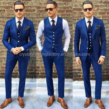 Jacket + Pants + Vest New Wedding Navy Blue Men Blazer Coat Pant Men ...