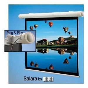 "Draper Salara Plug & Play Electric Wall Mount Projection Screen, AV Format, 73"" x 96"", 121"" Diagonal, Matte White Surface"