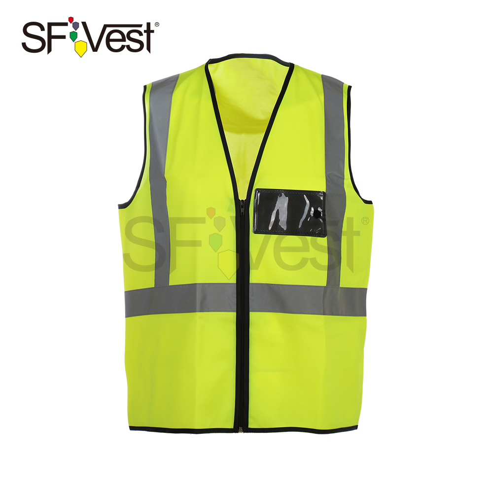 Work Wear Uniform Polyester Tricot Clothes Construction Vest Reflection vest With ID Pocket