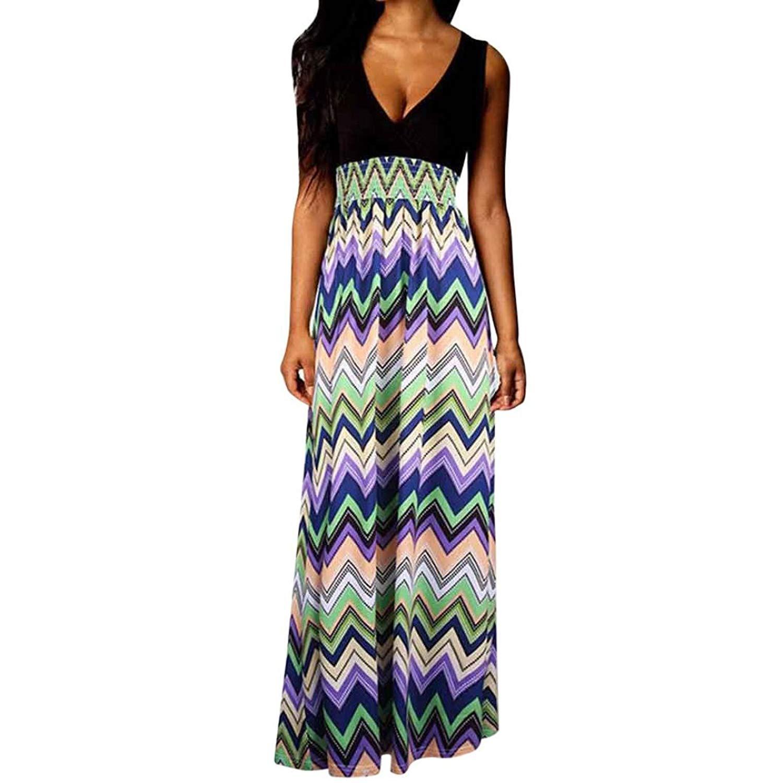 b48ac69cbcfa Get Quotations · Lelili Women Long Maxi Dress Floral Printed Patchwork Flowy  Swing Sundress Sleeveless V Neck Floral Length