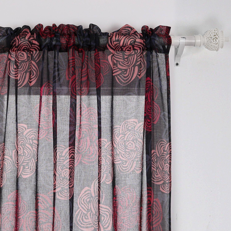 Buy Printed Big Red Flower Curtains Modern Sheer Curtains