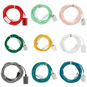 High quality colorful braided cord with switches and plugs