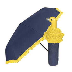 Cute little yellow duck head handle cheap auto unique kids umbrellas 3 fold toy umbrella promotion for children