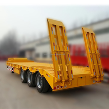 Heavy duty equipment transportation 3 Axles 60ton Low Bed Chekered Semi Truck Trailer