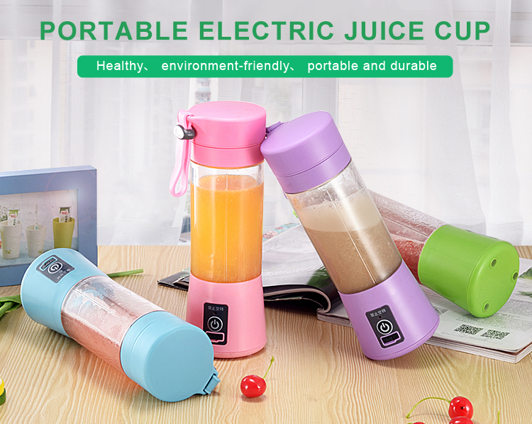 Super September Portable 4 Leaf Knife Usb Rechargeable Electric Mini Juice Cup