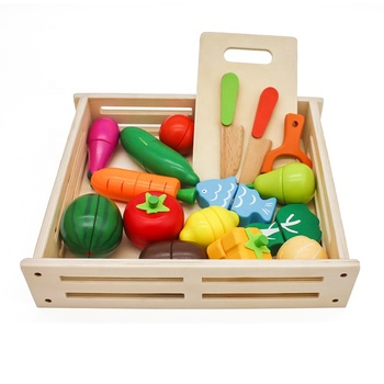New kids pretend play wooden kitchen food toys with fruit and vegetables W10B224
