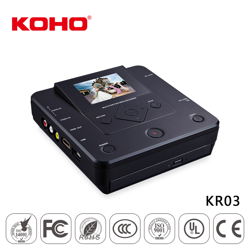 android based 2.8 inch AV in to DVD portable recorder player for vhs vcr