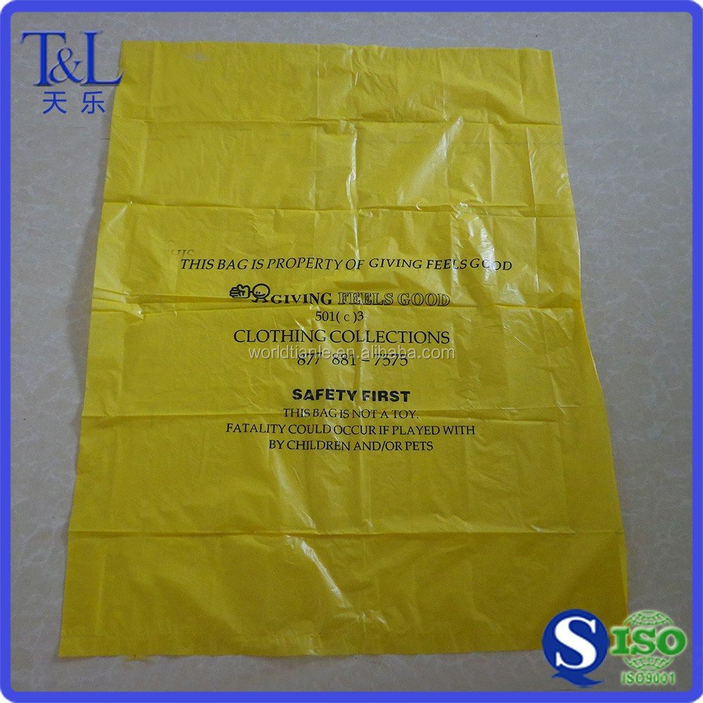 Yellow HDPE huge plastic garbage bag custom making plastic waste bag