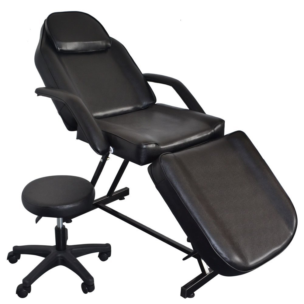 """Valuebox 3 Fold Section Massage Table Bed 73"""" Adjustable Facial Tattoo Spa Salon Barber Chair Equipment w/ Hydraulic Stool (Black)"""