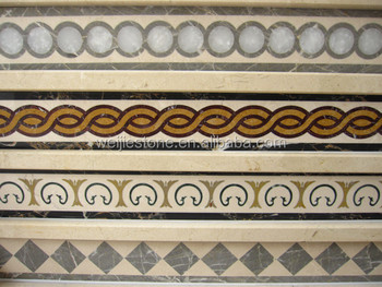 Natural Marble Floor Border Simple Designs Waterjet Inlay Work