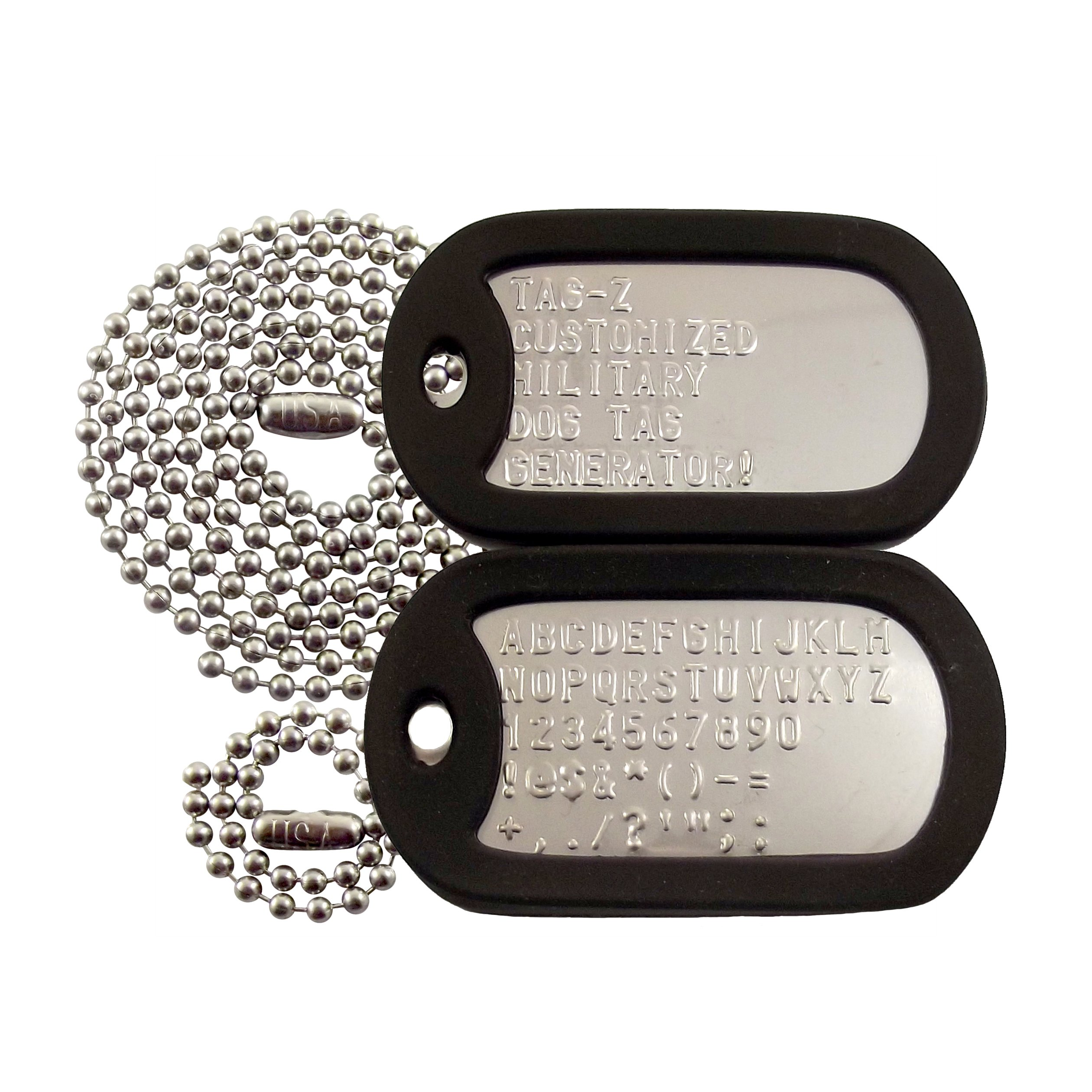 Get Quotations · Customized Military Dog Tags - Stainless Steel Dog Tags  with Black Silencers 4c8113bd2da