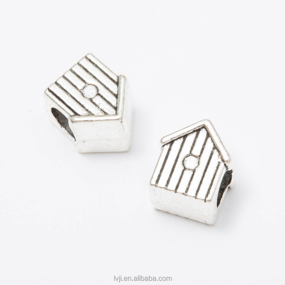 Alloy Metal Type house shape big hole Beads for Jewelry Making China Supplies