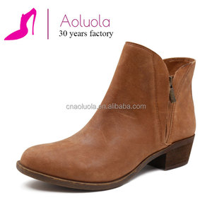 Handmade genuine leather manufacturer flat ankle lady cowboy boot