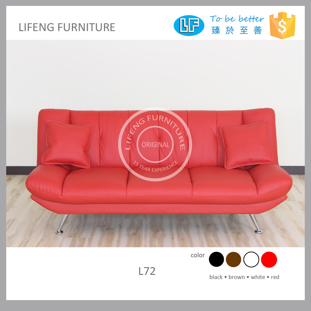 red color sofa bed L72 with pillows top leather