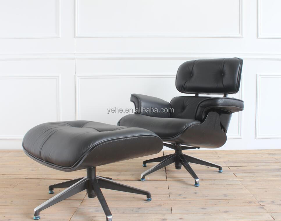 Black leather,white leather seating wood back lounge leisure chair with ottoman
