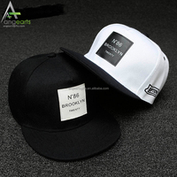Custom Flat brim unstructured embroidery and printed Snap Back hats Wholesale 5 Panel snapback caps