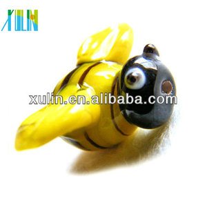 2012 newest handmade lampwork glass beads yellow honey bee