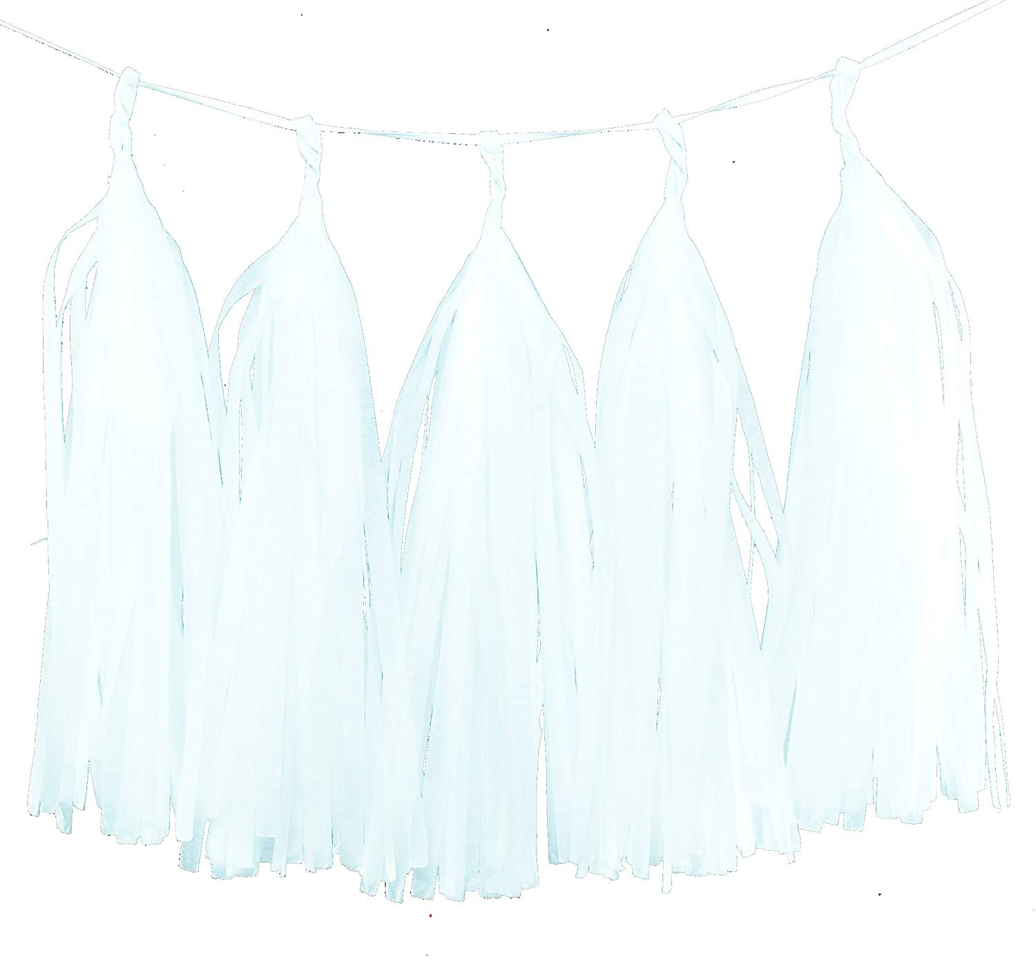 White Wedding Backdrops, White Tissue Paper Tassels (Set of 5) - Party Garland, Streamer Decorations, Bunting Banner, Wedding Accessories