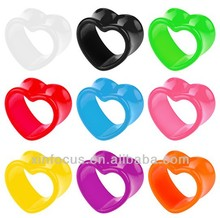 Flesh Tunnel Heart Shape Plug Piercing Hollow Double Flared Body Jewelry