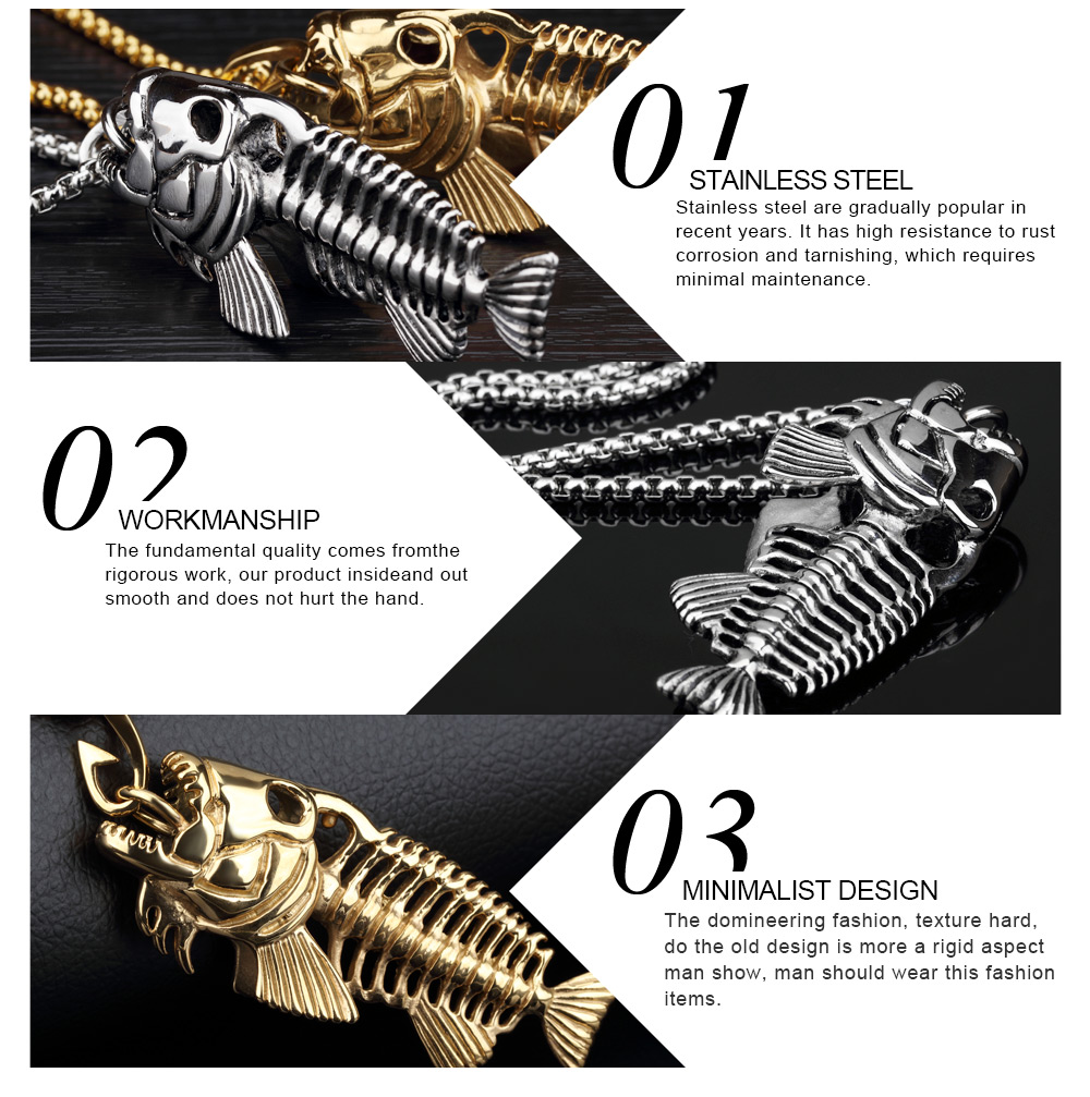 Custom Men Jewellery Stainless Steel Gothic Fish Bone Necklace