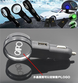 paypal accept hot sale new magnifying lens PC and Crystal dual usb car charger for Mobile phone