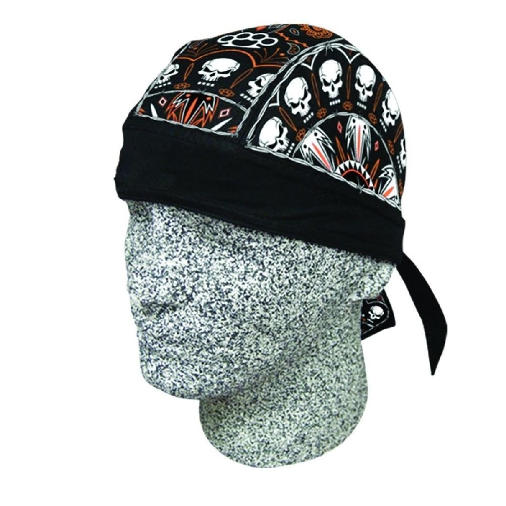 7129016356f Twisted Metal Skull Black Orange Doo Rag Headwrap Biker Durag Sweatband