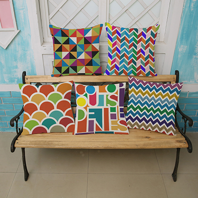 Colorful plaid stripes wall sticker 45*45cm Pattern printing Luxury home Decorate outdoor Car sofa seat cushion cushions pillow
