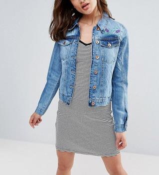 New design long sleeves embroidered denim jacket women jeans jacket 2019 018c38bef