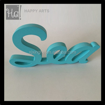 Wooden Machine Cutting Letter In Blue Color For Wall Decor   Buy