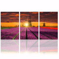 Lavender Garden Canvas Painting with Wood Frame/Modern Home Decor Sunset Landscape Wall Art/3 Panels Windmill Picture Print