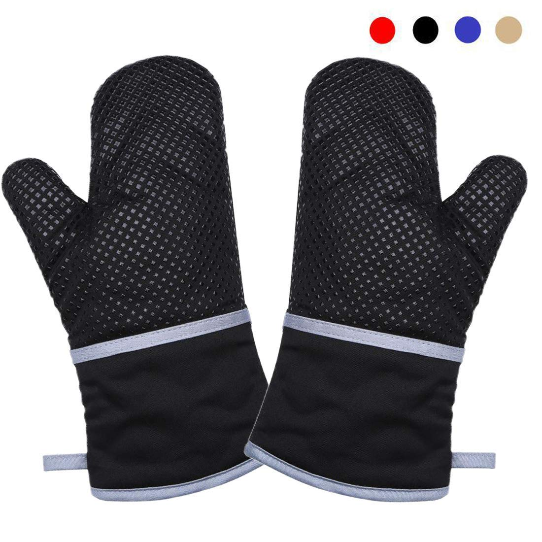 """DoMii 13"""" Long Kitchen Oven Mitts with Non-Slip Silicone Grip Heat Resistant Oven Gloves for Cooking and Baking, 1 Pair Black"""