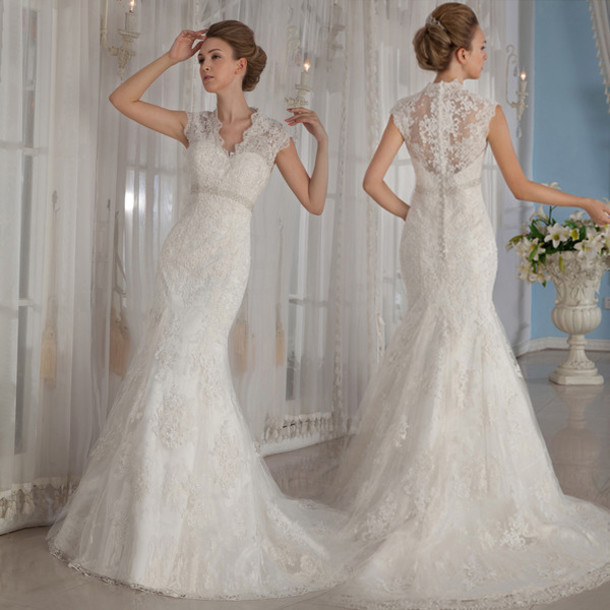 Spanish Lace Wedding Gown: Sexy-Spanish-Lace-Wedding-Dresses-Mermaid-V-Neck-2015