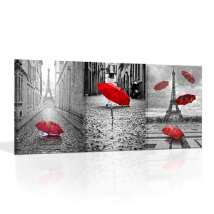 Contemporary Wall Art Canvas Black and White Eiffel Tower with Red Umbrella on Paris Street Painting Romantic Picture