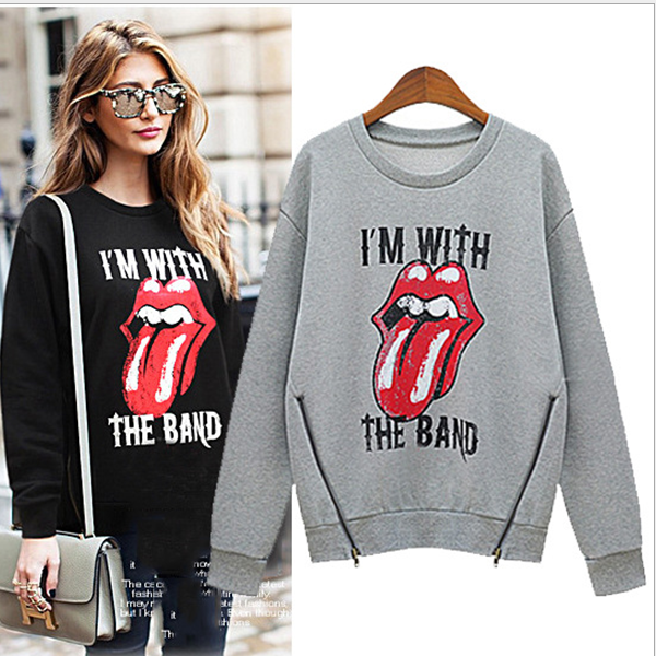 MS60416W wholesale new design printed mouth blouse autumn women hoodies