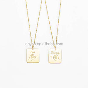 Inspire stainless steel jewelry China manufacturer custom cheap engraved best friend square necklace gold friendship necklace