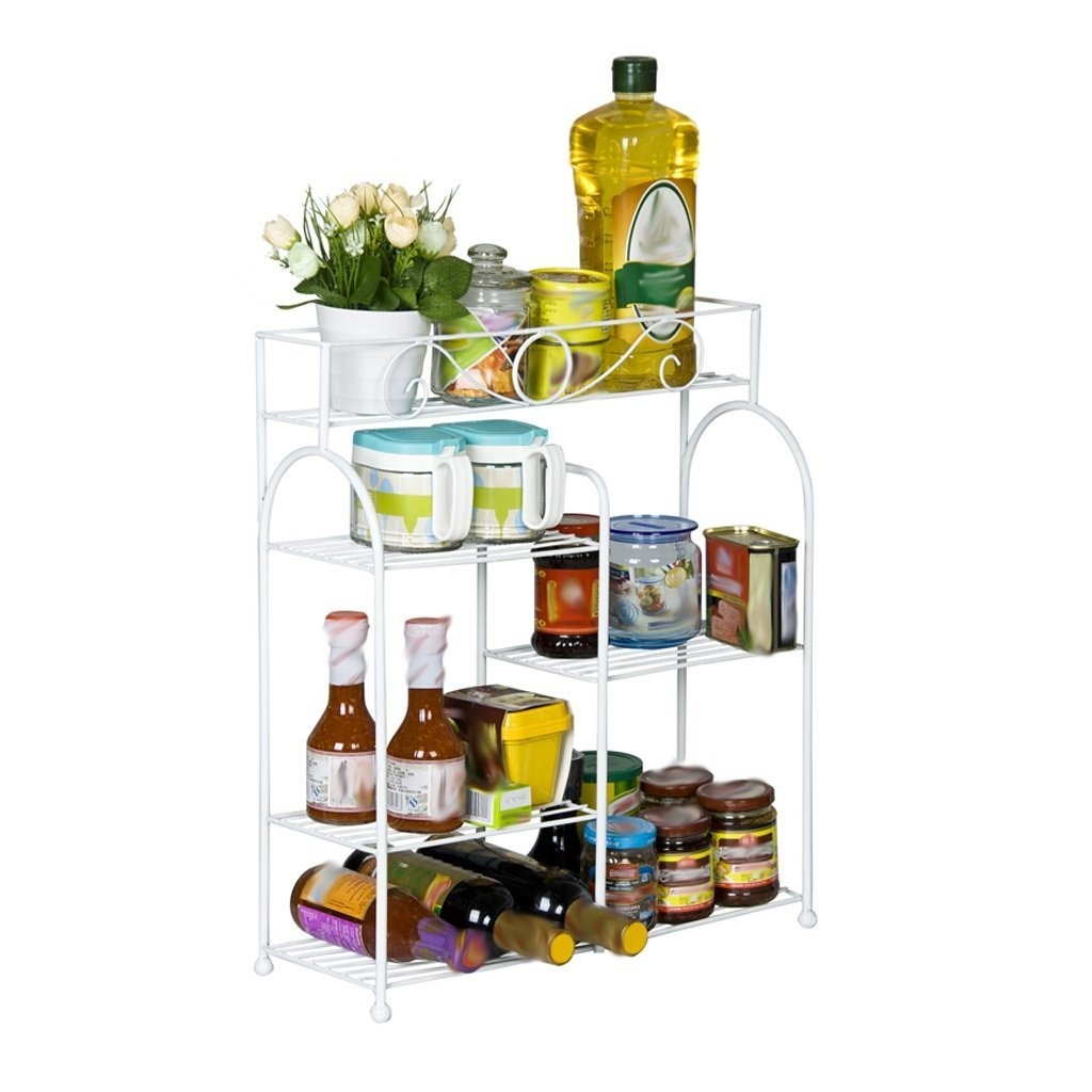 Get Quotations · LQQGXL Storage And Organization Home Metal Kitchen Racks  Closet Shelves Simple Modern Kitchen Walls Seasoning Racks
