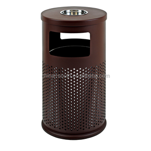 Round outdoor Metal recycling rubbish bin with ashtray