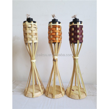 Natural Bamboo Table Tiki Torch With Wood Stand