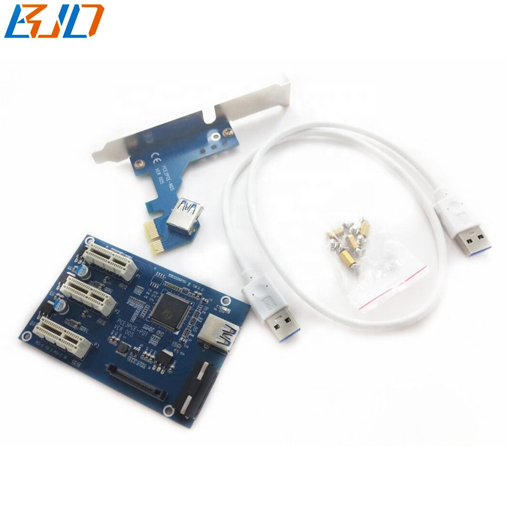 PCI-E 1 to 3 * PCIe 1x slot Switch Hub Expansion Riser Card Adapter Multiplier for GPU Riser фото