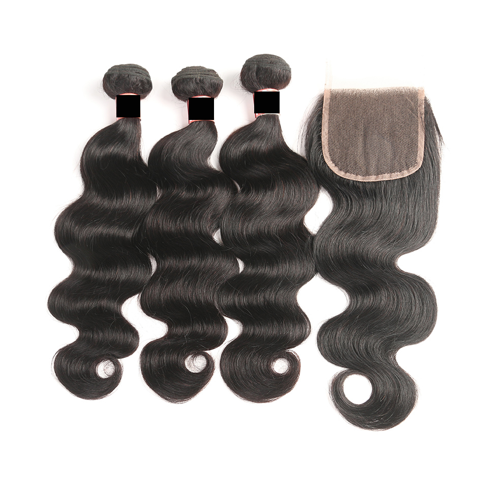 Malaysian Body Wave With Closure Free Middle Three Part human hair wig Weave 3 Bundles With Closure wigs for black women