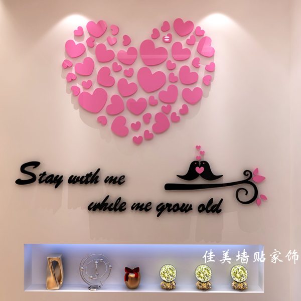 Free shipping 3D Acrylic crystal wall love wall stickers TV wall living room entrance bedroom bed warm home decor
