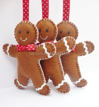 2017 factory pattern felt fabric christmas decoration felt gingerbread man