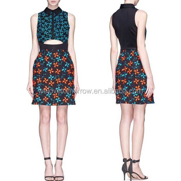 Black midweight two-way stretch twill skirt orange embroidery 2016 new women wear