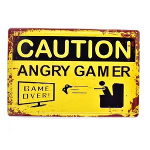 Caution Angry Gamer vintage 3D Embossed Concave-convex Retro Metal Poster Beer Tin Sign Coffee Bar Wall Decor Plaques