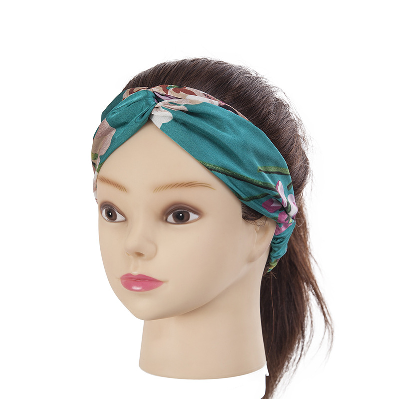 Fashion Twist Knot Elastic Knit Turban <strong>Hair</strong> Band Floral Printed , Yoga Headbands for Women <strong>Hair</strong> <strong>Accessories</strong> F688