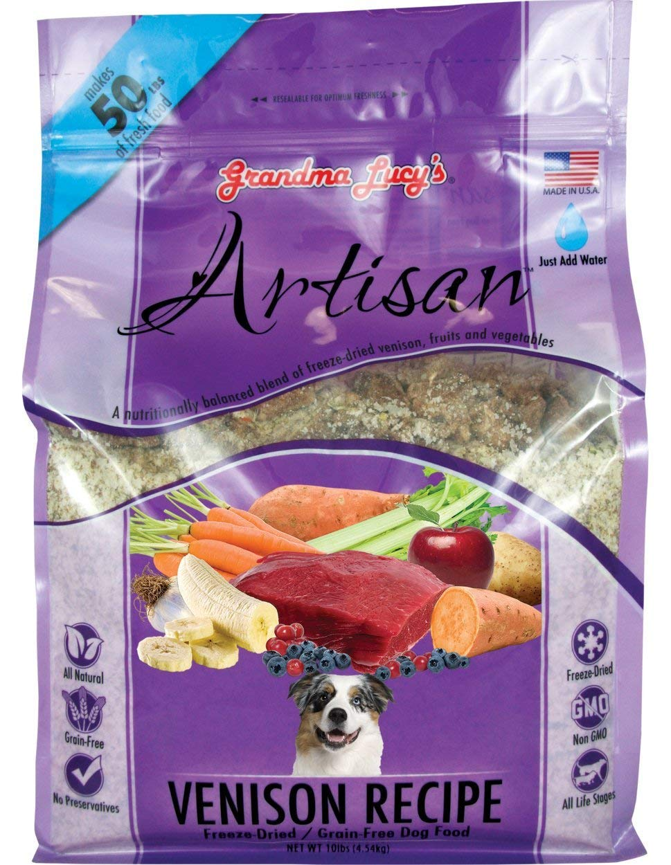 Grandma Lucy's Grain Free Venison Freeze Dried Dog Food. 3 LB. Bag. Made with Venison, Fruits & Vegetables